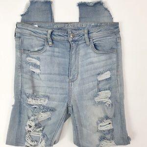 AEO Stretch distressed hi rise skinny jeans 10